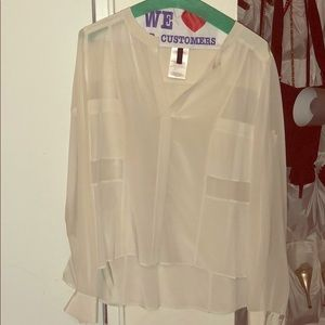 BCBG white 100% silk sheer blouse